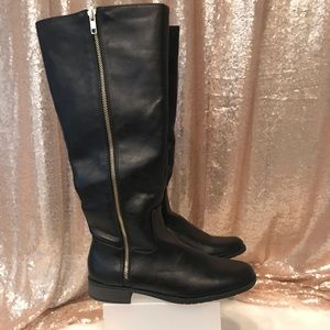 Shoes - Winter Boots with Gold Zipper Detail: NEVER WORN!!